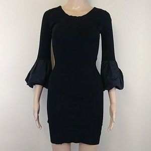 [BCBG] Black Puffed 3/4 Sleeve Dress Small